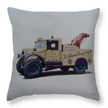 Throw Pillow featuring the painting Morris Commercial Wrecker. by Mike Jeffries