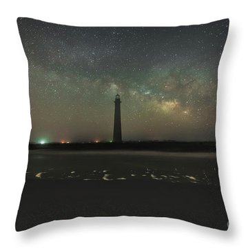 Morris Island Light House Milky Way Throw Pillow