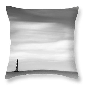 Morris Island Lighthouse Bw Throw Pillow