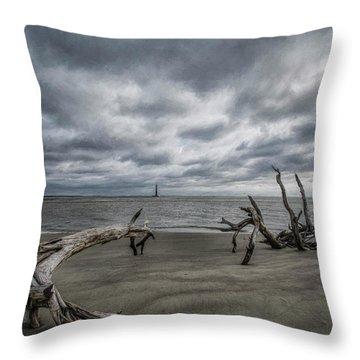 Morris Island Lighthouse Throw Pillow