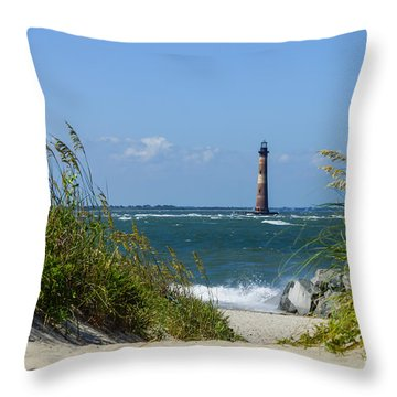 Morris Island Lighthouse Walkway Throw Pillow