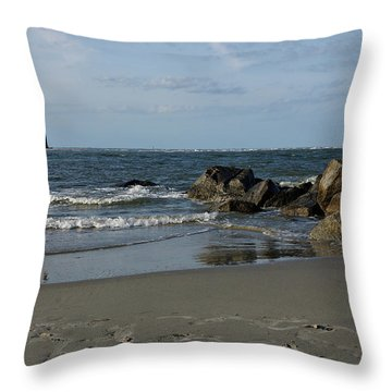 Throw Pillow featuring the photograph Morris Lighthouse by Sandy Keeton