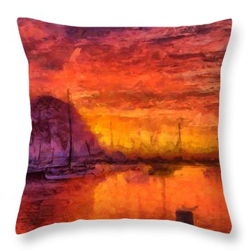 Morro Bay Marina Throw Pillow