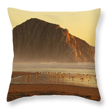 Throw Pillow featuring the photograph Morro Rock At Sunset by Max Allen