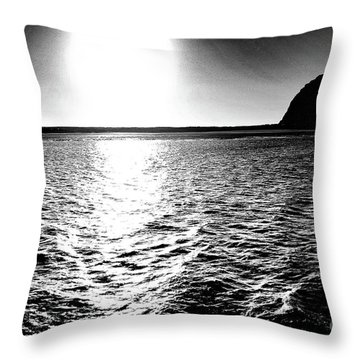 Morro Rock, Black And White Throw Pillow