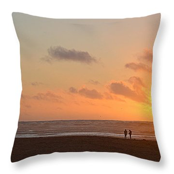 Throw Pillow featuring the photograph Morro Sunset by AJ Schibig