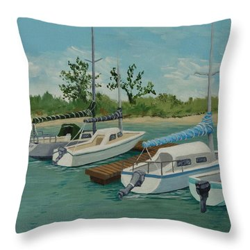 Throw Pillow featuring the painting Morro Bay State Park Ca by Katherine Young-Beck