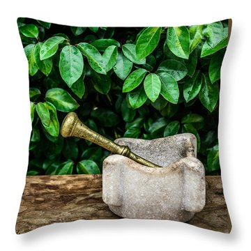 Mortar And Pestle Throw Pillow by Marco Oliveira