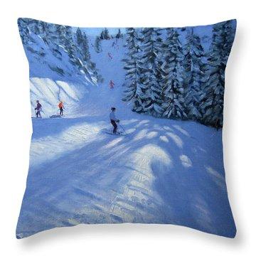 Morzine Ski Run Throw Pillow by Andrew Macara
