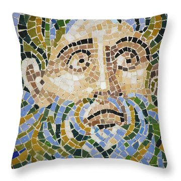 Mosaic Face Fountain Detail Throw Pillow