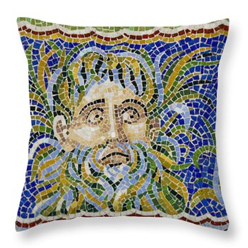 Mosaic Fountain Face View 2 Throw Pillow