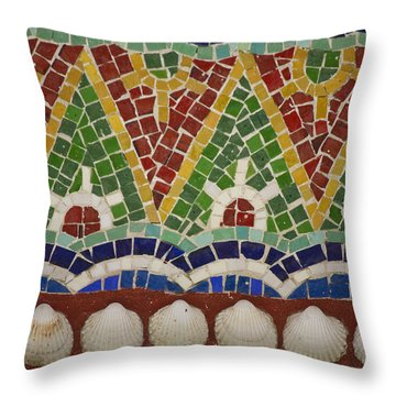 Mosaic Fountain Pattern Detail 4 Throw Pillow