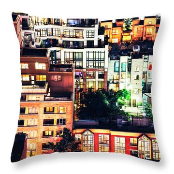 Mosaic Juxtaposition By Night Throw Pillow by Amyn Nasser