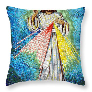 Throw Pillow featuring the photograph Mosaic Of Christ Rising by Joseph Frank Baraba