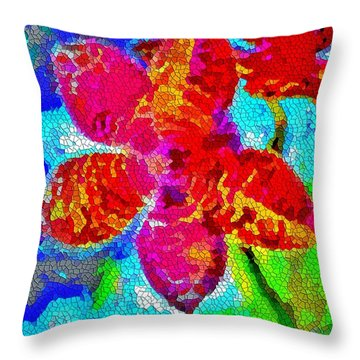 Mosaic Orchid 2 Throw Pillow