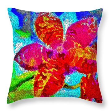 Mosaic Orchid Throw Pillow