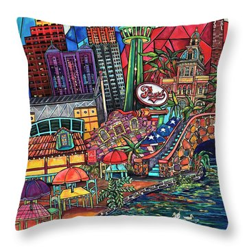 Throw Pillow featuring the painting Mosaic River by Patti Schermerhorn