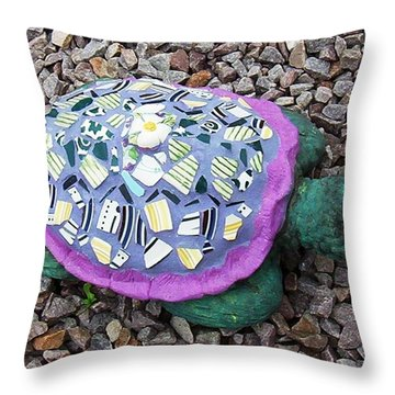 Throw Pillow featuring the ceramic art Mosaic Turtle by Jamie Frier