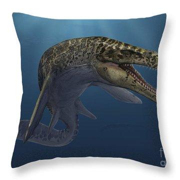 Mosasaurus Hoffmanni Swimming Throw Pillow by Sergey Krasovskiy