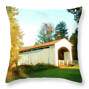 Mosby Creek Covered Bridge Throw Pillow