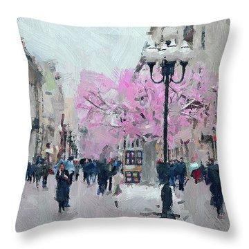 Moscow Arbat Street View Throw Pillow