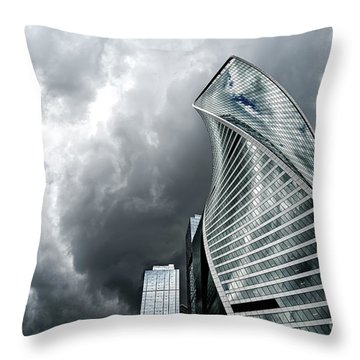 Moscow City And Storm Throw Pillow