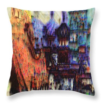Throw Pillow featuring the digital art Moscow In The Rain by Seth Weaver