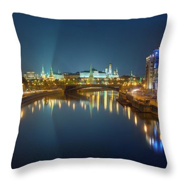 Throw Pillow featuring the photograph Moscow Kremlin At Night by Alexey Kljatov