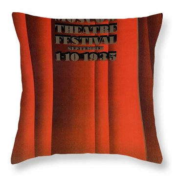 Moscow Theatre Festival 1935 - Russia - Retro Travel Poster - Vintage Poster Throw Pillow