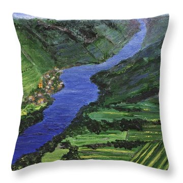 Throw Pillow featuring the painting Moselle River by Jamie Frier