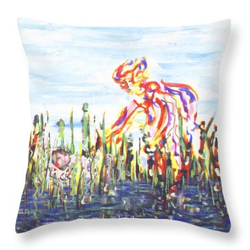 Moses In The Rushes Throw Pillow