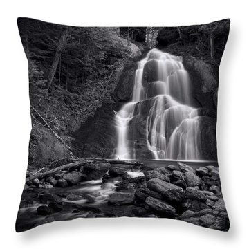 Throw Pillow featuring the photograph Moss Glen Falls - Monochrome by Stephen Stookey