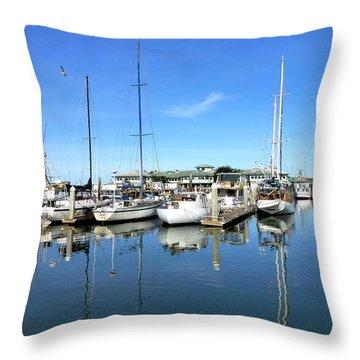 Moss Landing Harbor Throw Pillow by Amelia Racca