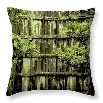 Mossy Bamboo Fence - Digital Art Throw Pillow by Carol Groenen