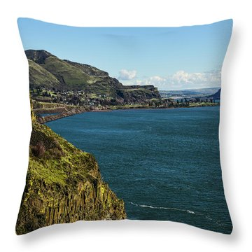 Mossy Cliffs On The Columbia Throw Pillow