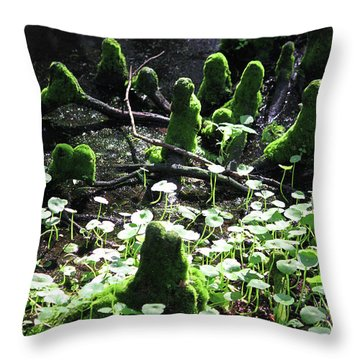 Mossy Congregation Throw Pillow