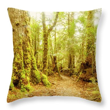 Mossy Forest Trails Throw Pillow