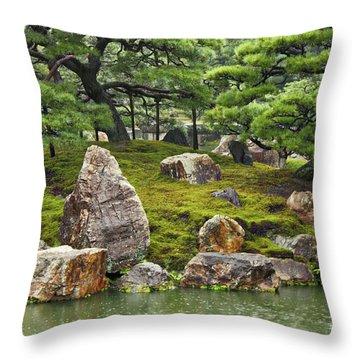 Mossy Japanese Garden Throw Pillow by Carol Groenen