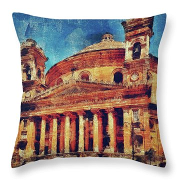 Mosta Church Throw Pillow