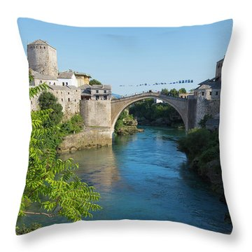 Mostar, Bosnia Herzegovina  The Single Arch Stari Most Or Old Bridge. Throw Pillow