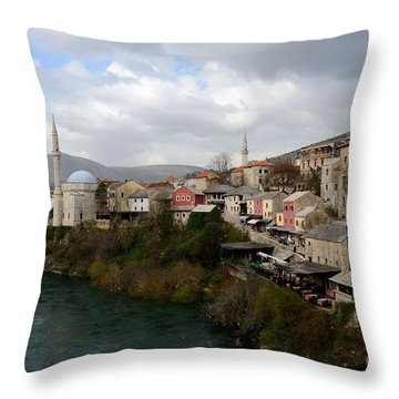 Mostar City With Mosque Minaret Medieval Architecture Neretva River Bosnia Herzegovina Throw Pillow