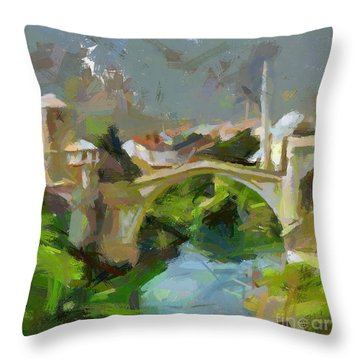 Mostar Old Bridge Throw Pillow