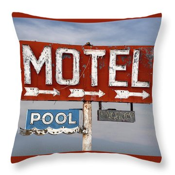 Throw Pillow featuring the photograph Motel And Pool Sign Route 66 by Carol Leigh