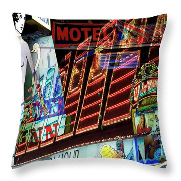Motel Variations 24 Hours Throw Pillow by Ann Tracy
