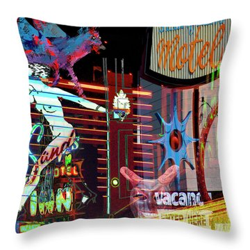 Motel Variations Night Of The Flyng Coyote Throw Pillow by Ann Tracy