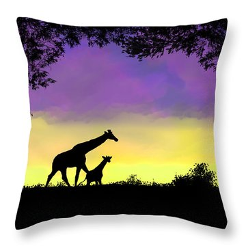 Mother And Baby Giraffe At Sunset Throw Pillow