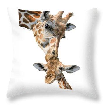 Mother And Baby Giraffe Throw Pillow by Sarah Batalka