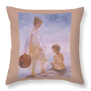 Mother And Baby On The Beach Throw Pillow