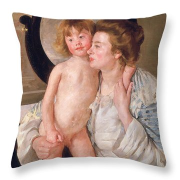 Mother And Boy Throw Pillow by Mary Stevenson Cassatt