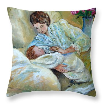 Mother And Child By May Villeneuve Throw Pillow